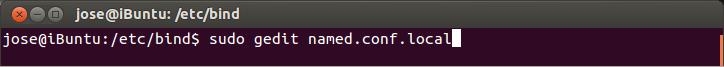 Ahora vamos a configurar el archivo named.conf.local, si gustan usar otro editor de textos como nano lo pueden hacer, en mi caso usaré gedit, necesitamos permisos de administrador para este paso