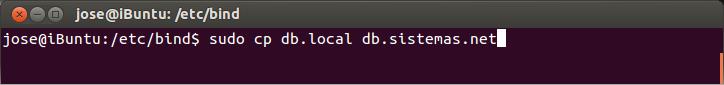 """Ahora vamos a copiar el archivo que viene """"db.local"""" para usarlo como base para el nuevo archivo que vamos a crear con nuestro dominio"""
